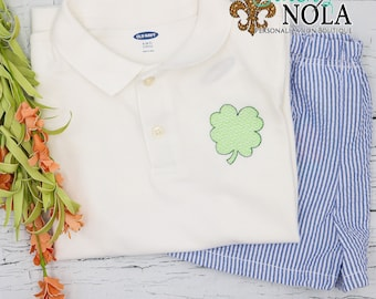 Shamrock Collared Shirt & Seersucker Shorts Set, Clover Shirt, Monogram Outfit, St Patricks Day Outfit