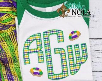Mardi Gras King Cake Monogram Applique, King Cake Embroidery, Purple Green And Gold, Mardi Gras Applique, Mardi Gras Outfit