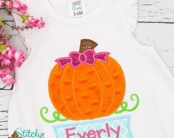 Pumpkin Appliqué, Pumpkin Appliqué with Name Box, Girl Pumpkin Appliqué, Fall Appliqué, Pumpkin Shirt