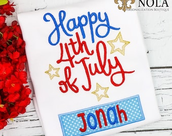 Happy Fourth of July with Name Box Applique, American Flag, Patriotic  Applique, Red White and Blue Applique, America Applique, Fourth of Ju