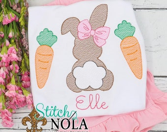 Girl Bunny And Carrots Top And Bottom Set, Easter Sketch Embroidery, Spring Embroidery, Easter Outfit, Girl Easter Outfit