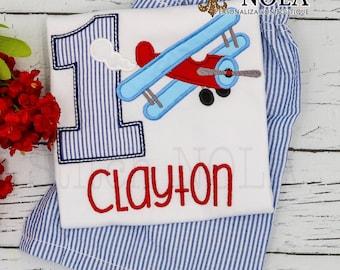 Retro Airplay Birthday Applique Shorts Set, Retro Plane Birthday Shirt and Shorts, Airplane Applique