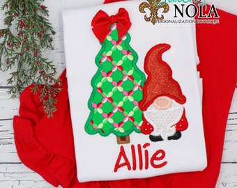 Christmas Tree with Gnome Applique Top And Bottom Set, Christmas Gnome and Tree Applique, Gnome Christmas Tree with Bow Outfit