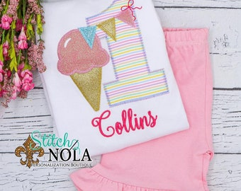 Ice Cream Birthday Shirt and Shorts Set, Ice cream Birthday Shirt, Birthday Shirt, First Birthday Outfit