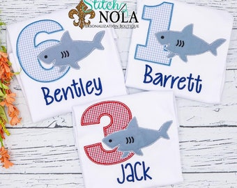Raggy Shark Birthday Shirt, Personalized Shark Shirt, Shark Applique, Shark Birthday, Birthday Shark