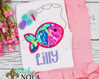 Fishing Pole with Bow Applique Shorts Set, Fishing Shirt and Shorts, Fishing Applique