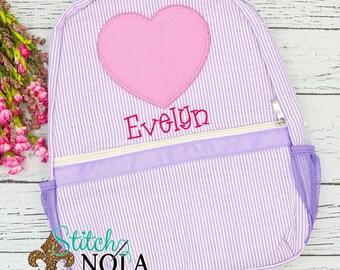 Seersucker Backpack with Applique Heart, Seersucker Monogrammed Diaper Bag, Seersucker School Bag, Diaper Bag, School Bag, Book Bag,