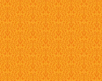 ORANGE Ghouls Damask Fabric, Riley Blake, 100% Cotton, Orange Damask