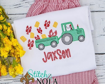 Crawfish Tractor with Chicken Top & Shorts Set, Crawfish Boil Sketch Embroidery Outfit