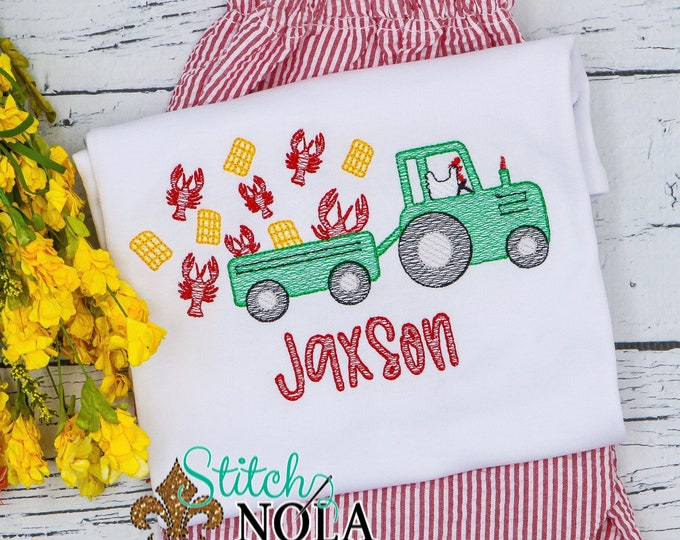 Featured listing image: Crawfish Tractor with Chicken Top & Shorts Set, Crawfish Boil Sketch Embroidery Outfit