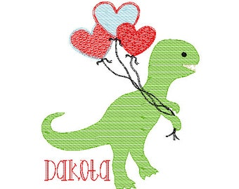 Valentine's Day Dinosaur with Heart Balloons Sketch Embroidery, Valentines Day Embroidery