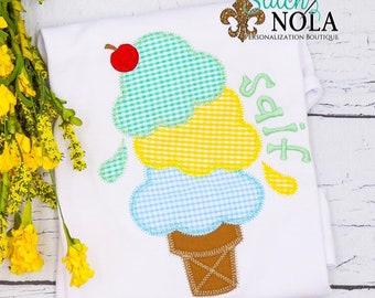 Triple Ice Cream Cone Applique Shirt, Ice Cream Cone Applique, Beach Tee, Spring Applique, Summer Applique