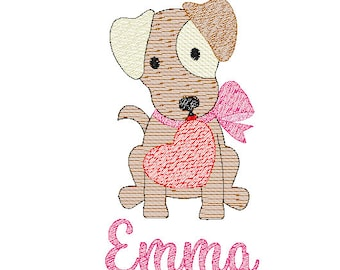 Valentine's Day Dog with Heart Sketch Embroidery, Valentines Day Embroidery