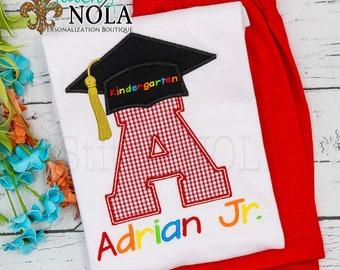 Graduation Cap Alpha Applique Shorts Set,  Graduation Applique, Kindergarten Graduation Applique, Pre-School Graduation Applique