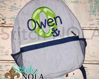 Seersucker Backpack with Letter Applique with Anchor, Seersucker Diaper Bag, Seersucker School Bag, Seersucker Bag, Diaper Bag, School Bag,