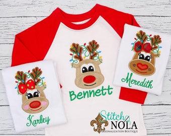 Christmas Reindeer Shirt, Reindeer Applique Shirt, Christmas Shirt