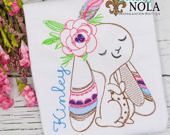 Tribal Easter Bunny Sketch, Easter Sketch Embroidery, Spring Embroidery, Easter Shirt, Girl Easter Shirt