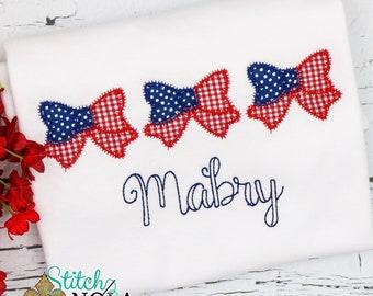 Patriotic Bow Trio Applique, American Flag, Patriotic  Applique, Red White and Blue Applique, America Applique, Memorial Day, Fourth of July