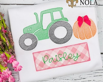Pumpkin Tractor Sketch Embroidery with Name Patch,  Tractor with Pumpkin Sketch Embroidery, Fall Shirt, Pumpkin Shirt, Pumpkin Patch