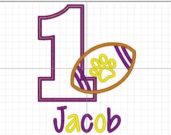 Football Birthday Shirt, Football Applique, LSU Birthday Shirt, Tiger Football Birthday, LSU Football Shirt