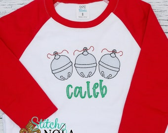 Vintage Christmas Silver Bells Embroidery, Silver Bells Trio, Christmas Sketch Design, Christmas Shirt