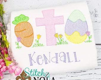 Carrot Cross Egg Sketch Embroidery, Easter Sketch Embroidery, Spring Embroidery, Easter Shirt, Girl Easter Shirt
