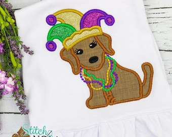 Mardi Gras Dog with Jester Hat Applique