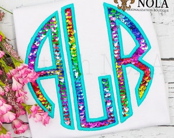 Flip Sequins Monogram Applique, Sequined Applique, Sparkly Monogram Applique, Girly Monogram