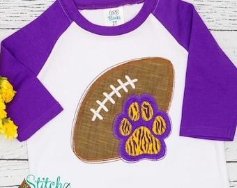 Football with Tiger Paw Print Shirt, Tiger Paw Football Shirt, Football Shirt