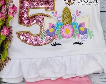 Flip Sequin Number Unicorn Applique Top And Bottom Set, Pink Flip Sequins Birthday Number, Unicorn Applique Outfit, Sequin Birthday Outfit