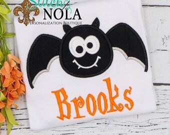 Bat Embroidered Shirt, Halloween Shirt, Halloween Applique Shirt