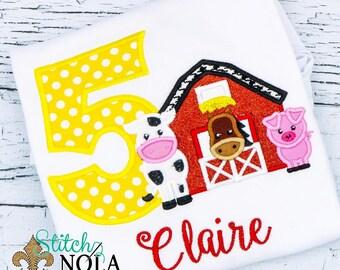 Barn Birthday Shirt, Farm Birthday Shirt, Barn Applique, Farm Applique, Cow Birthday, Pig Birthday, Cow Applique, Pig Applique