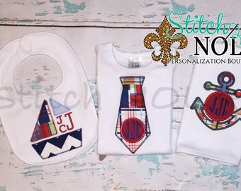 Nautical/Sailboat Bib and Burp Cloth Set, Nautical Gift Set, Summer Gift Set, Sailboat Set, Anchor Applique, Sailboat Applique