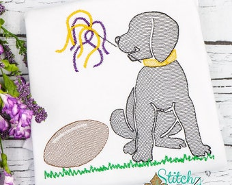 Football Dog Sketch Embroidery, Dog with Football, Lab with Football, Football Pup