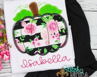 Girls Pumpkin Shirt and Short Set, Pumpkin Applique, Girl Pumpkin Applique, Fall Applique, Pumpkin Patch Outfit