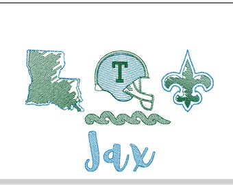 Green Trio Sketch Embroidery, Green Football, Wave Football