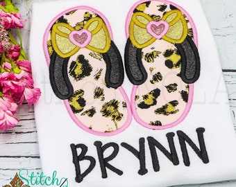Flip Flops with Bow Applique, Flip Flops Applique, Beach Shirt, Beach Tee, Spring Applique, Summer Applique