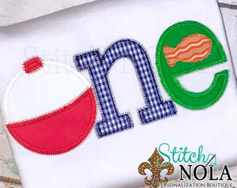 ONE Bobber Applique, Fishing One , O-fishally One, 1st Birthday Fishing Theme, Fish Applique