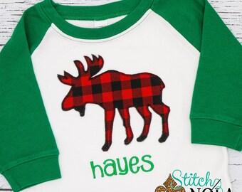 Moose Applique, Buffalo Check Moose Applique, Christmas Applique