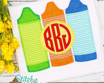 Crayon Trio with Monogram Applique, Back to School Shirt, Monogrammed Back to School Shirt, Personalized Back to School