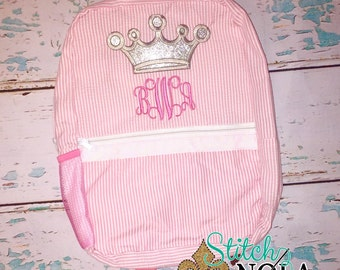 Princess Crown Seersucker Backpack/Diaper Bag, Seersucker Diaper Bag, Seersucker School Bag, Seersucker Bag, Diaper Bag, School Bag, Book Ba