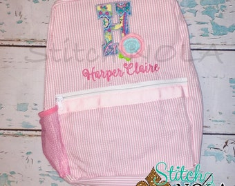 Seersucker Backpack with Shabby Rose Applique, Seersucker Diaper Bag, Seersucker School Bag, Seersucker Bag, Diaper Bag, School Bag, Book Ba
