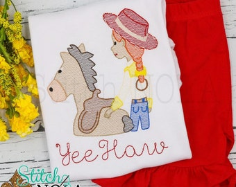 Cow Girl and Horse Sketch Embroidery Top and Shorts Set, Horse and Cowgirl