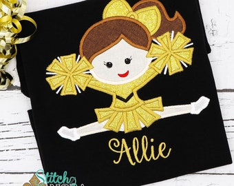 Cheerleader Applique, Black and Gold Cheerleader with Pom Poms Applique, Louisiana Football