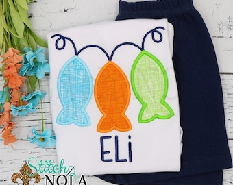 Fish on a Line Applique Shorts Set, Fishing Shirt and Shorts, Fishing Applique