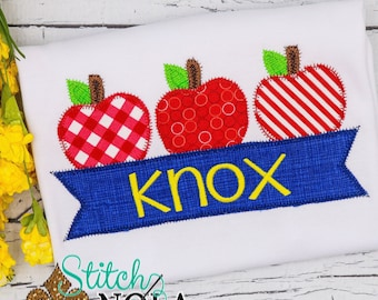 Apple Trio with Name Banner Shirt, Apple Applique, Back to School Applique, School Shirt