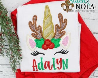 Reindeer Unicorn Applique Top And Bottom Set, Unicorn Christmas Outfit, Christmas Applique Outfit