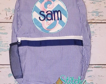 Seersucker Backpack with Circle Patch, Seersucker Diaper Bag, Seersucker School Bag, Seersucker Bag, Diaper Bag, School Bag, Book Bag