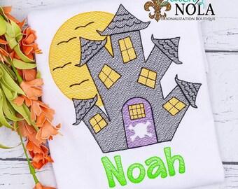 Spooky Halloween House, Halloween Shirt, Sketch Halloween House, Boys Halloween Shirt