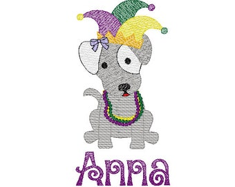 Mardi Gras Dog with Jester Hat Sketch Embroidery, Mardi Gras Dog Sketch Embroidery,  Mardi Gras Shirt